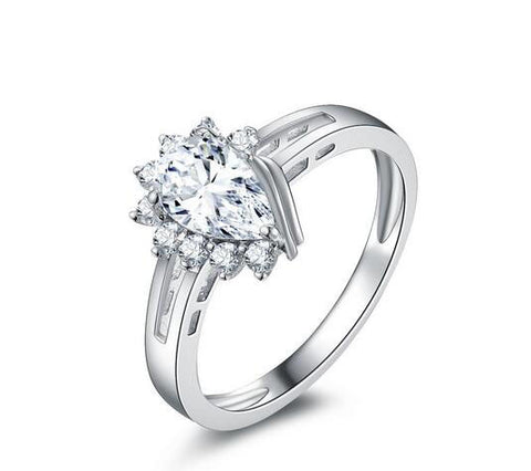 1CT pear cut diamond engagement ring - MOWTE
