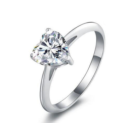 Heart cut fashion diamond silver engagement ring