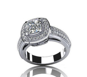 Cushion cut fashion diamond promise ring - MOWTE