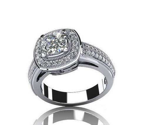 Cushion cut fashion diamond promise ring
