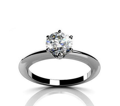 1CT fashion round cut diamond silver ring - MOWTE