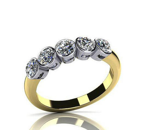 Fashion design round cut diamond silver ring