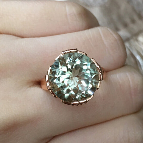 Natural huge round cut green crystal sterling silver free size ring - MOWTE