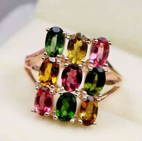 Fashion natural tourmaline stuning sterling silver wedding ring