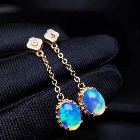 Opal sterlings silver chain drop earrings