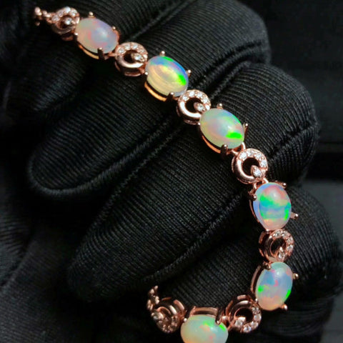 Fire natural opal sterling silver bracelet