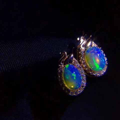 Opal sterlings silver drop earrings