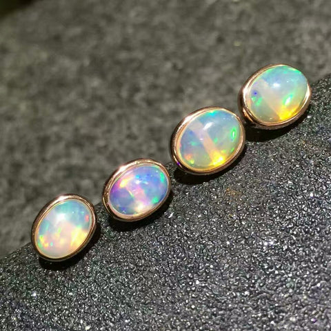 Classics natural opal studs sterling silver studs - MOWTE
