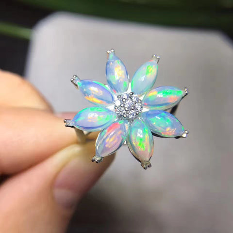 Colorful natural opal sterling silver free size ring