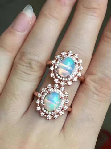 Fashion natural opal sterling silver free size ring