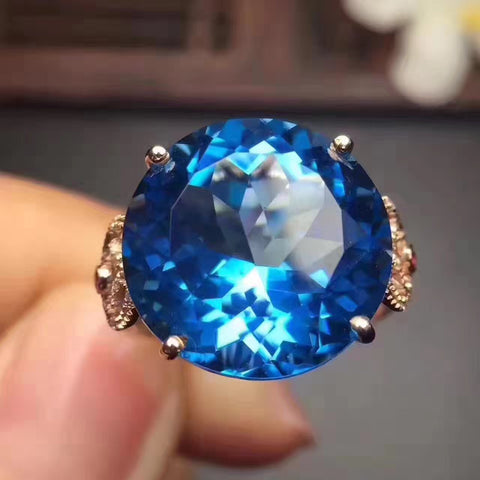 Luxury topaz sterling silver free size ring