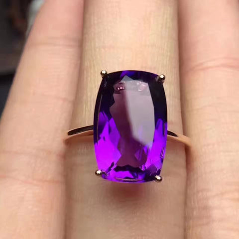 Natural amethyst sterling silver free size ring