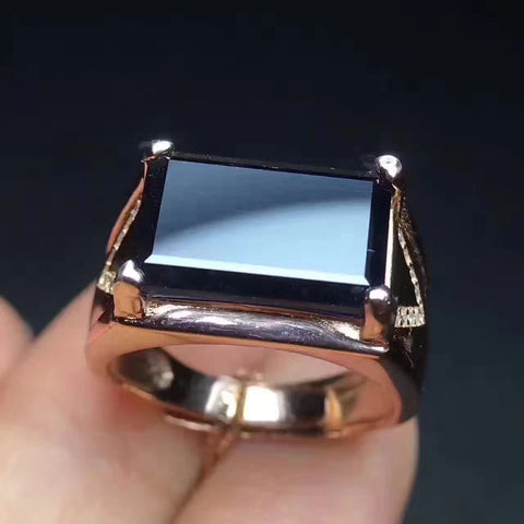 Men's fashion sapphire sterling silver free size ring