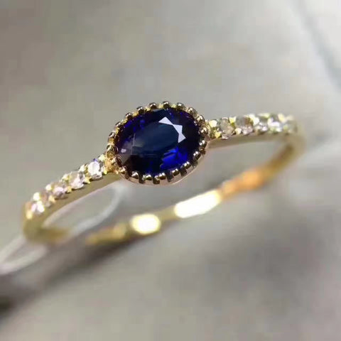 Sri Lanka sapphire sterling silver free size ring