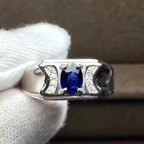 Couples Sri Lanka sapphire sterling silver free size ring