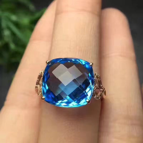 Natural cushion cut topaz sterling silver free size ring