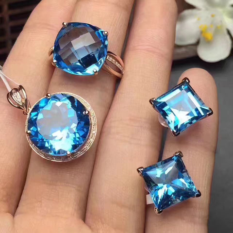 Natural blue topaz sterling silver jewelry set