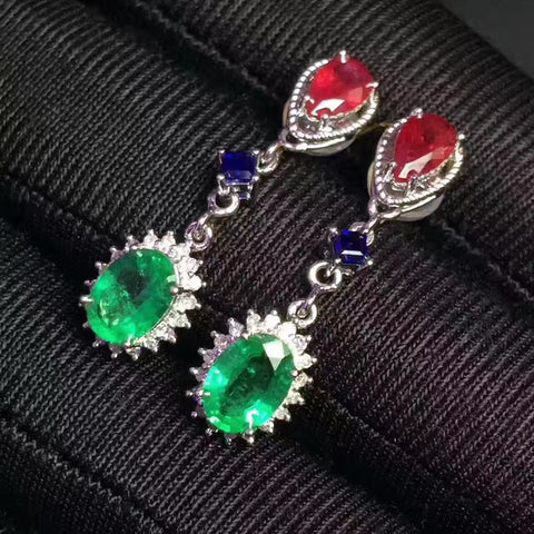 Emerald sterling silver long earrings - MOWTE