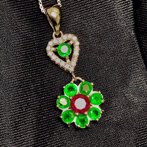 Emerald flower silver necklace - MOWTE