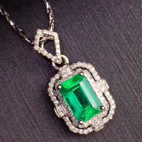 Emerald sterling silver necklace - MOWTE