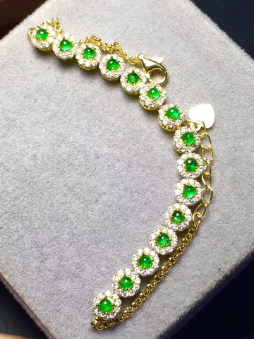 Genuine emerald sterling silver bracelet