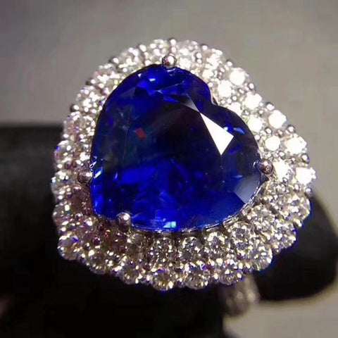 Genuine sapphire heart cut silver free size ring