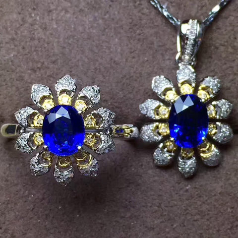 Fashion genuine sapphire silver jewelry set - MOWTE