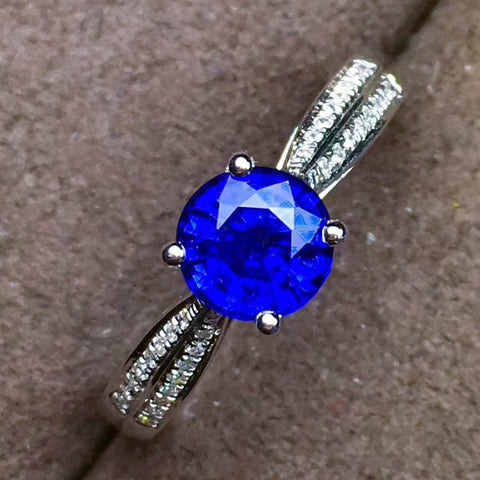 Genuine sapphire round cut silver free size ring