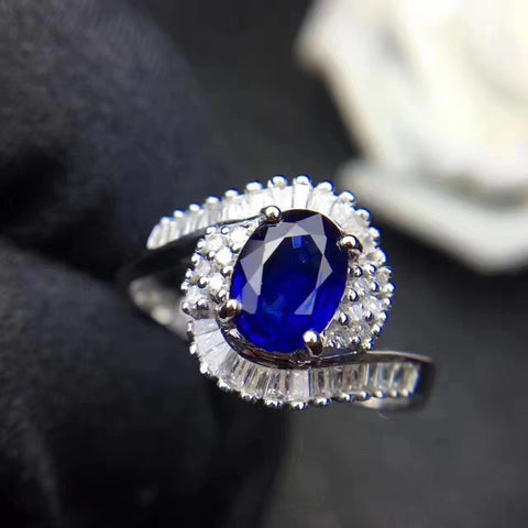 Genuine sapphire silver free size ring - MOWTE