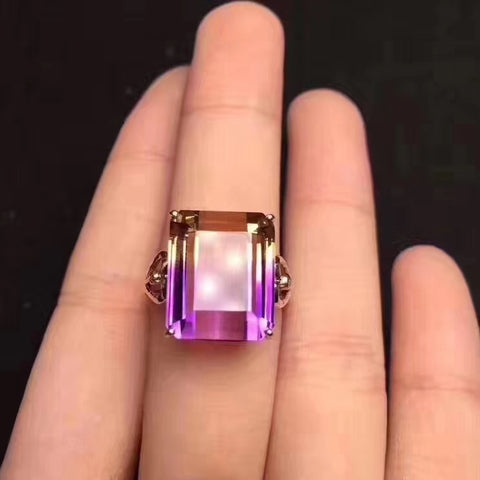 Natural ametrine sterling silver free size ring - MOWTE
