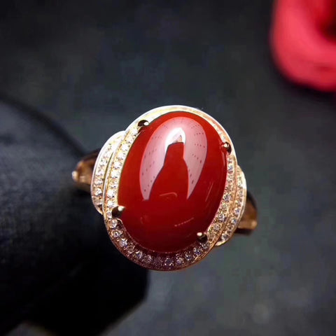 Natural red coral silver free size ring