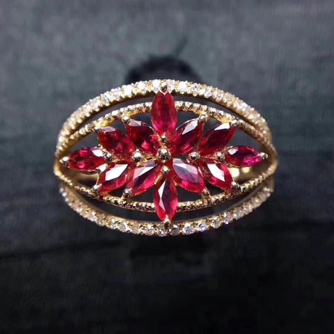 Ruby silver free size ring
