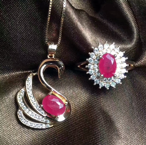 Ruby sterling silver jewelry sets - MOWTE