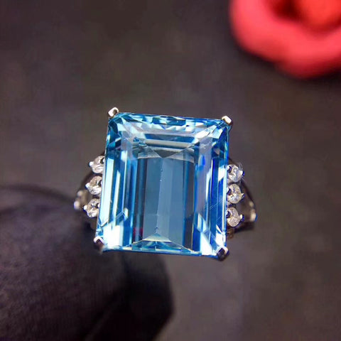 Huge natural emerald cut topaz sterling silver free size ring