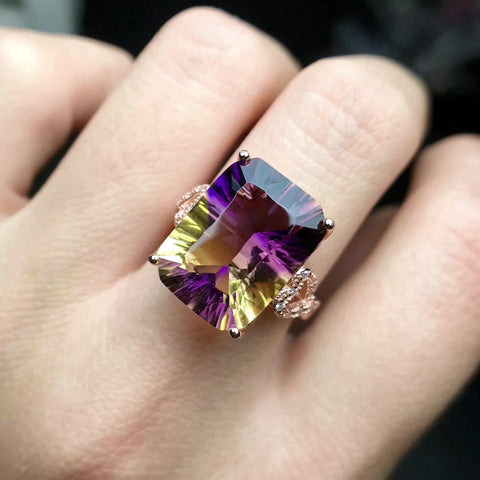 Natural ametrine silver free size ring