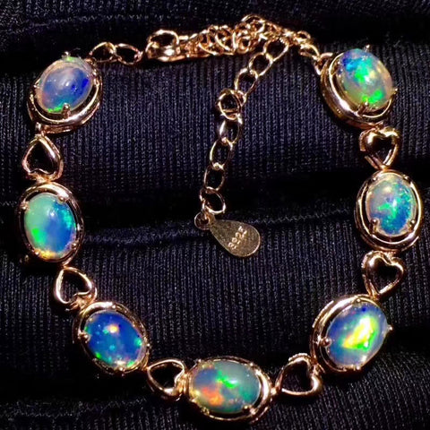 Natural fire opal sterling silver bracelet