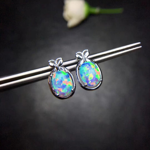 Cute natural opal studs sterling silver earrings - MOWTE