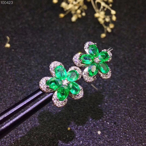 Natural emerald flower sterling silver studs