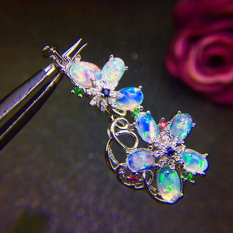 Genuine opal flower pendant and neckalce - MOWTE