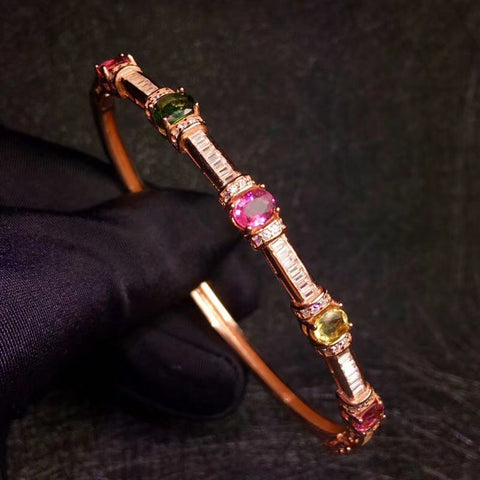 Natural tourmaline silver bracelet bangle