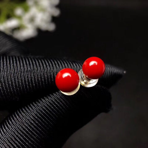 18K gold red coral ball studs - MOWTE