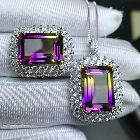 Ametrine sterling silver jewelry sets - MOWTE