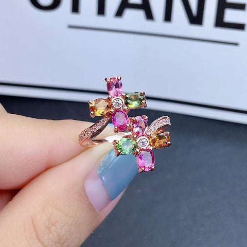 Natural tourmaline flowers silver free size ring - MOWTE