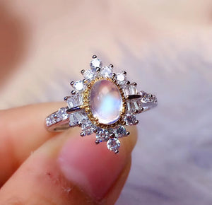 1ct blue moonstone silver free size ring - MOWTE