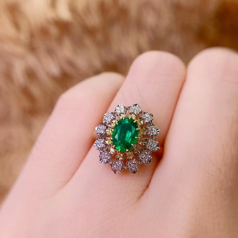 Natural 0.8ct emerald sterling silver ring