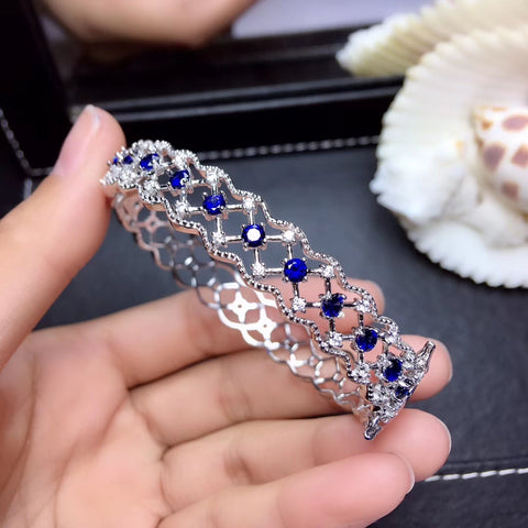 Natural sapphire sterling silver bangle
