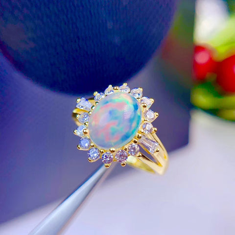 Colorful natural opal sterling silver free size ring - MOWTE