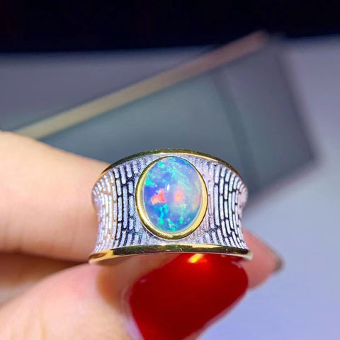 Natural opal sterling silver adjustable ring - MOWTE
