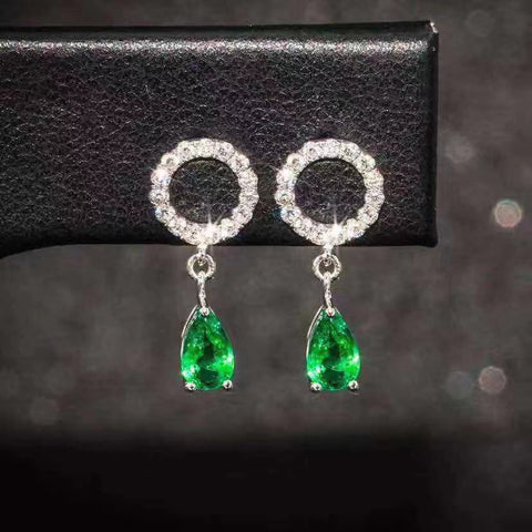 Emerald sterling silver earrings - MOWTE