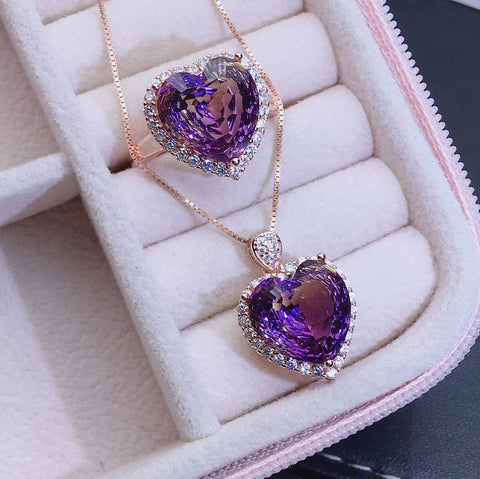 Heart cut ametrine sterling silver jewelry sets - MOWTE